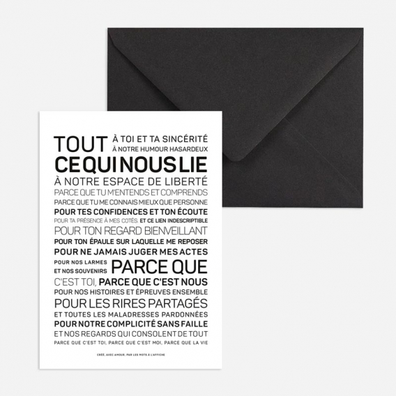 Carte postale Amitié @bonjourbibiche