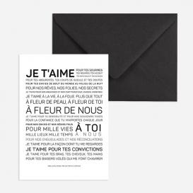Carte postale Je t'aime @bonjourbibiche