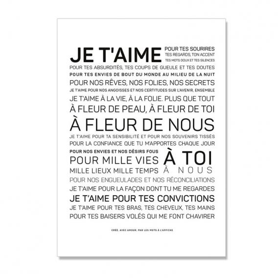 Carte Je t'aime @bonjourbibiche
