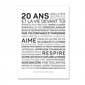 Carte anniversaire 20 ans Femme @bonjourbibiche