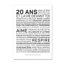 Carte anniversaire 20 ans Homme @bonjourbibiche