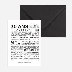Carte anniversaire Homme 20 ans @bonjourbibiche