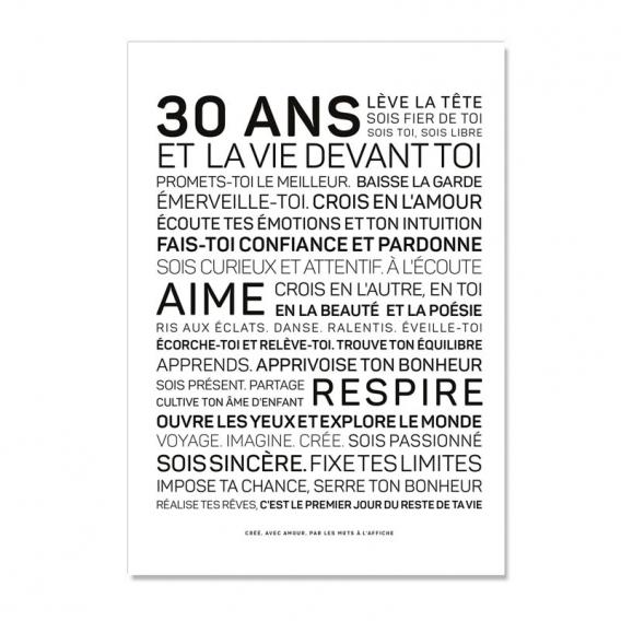Carte anniversaire 30 ans Homme @bonjourbibiche