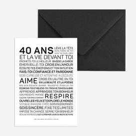 Carte anniversaire Femme 40 ans @bonjourbibiche