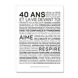 Carte anniversaire 40 ans Homme @bonjourbibiche