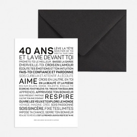 Carte anniversaire Homme 40 ans @bonjourbibiche