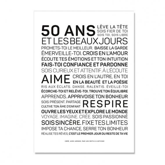 Carte anniversaire 50 ans Homme @bonjourbibiche