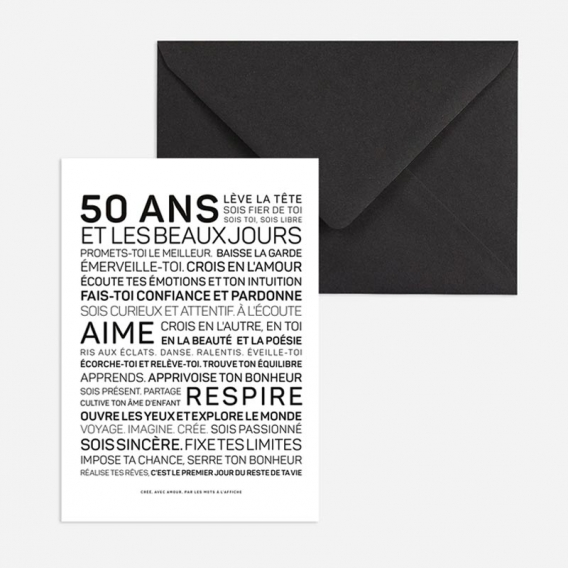 Carte anniversaire Homme 50 ans @bonjourbibiche