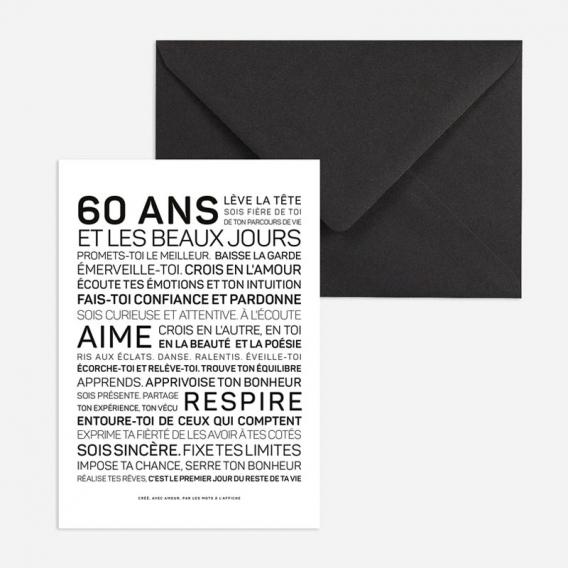 Carte anniversaire Femme 60 ans @bonjourbibiche