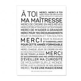 Carte postale Merci maîtresse @bonjourbibiche