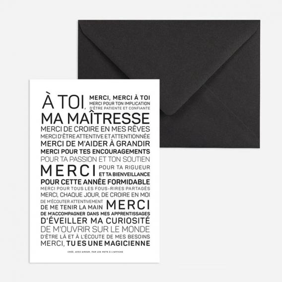 Carte Merci maîtresse @bonjourbibiche