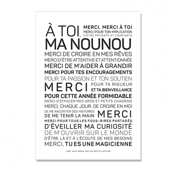 Carte Merci Nounou @bonjourbibiche