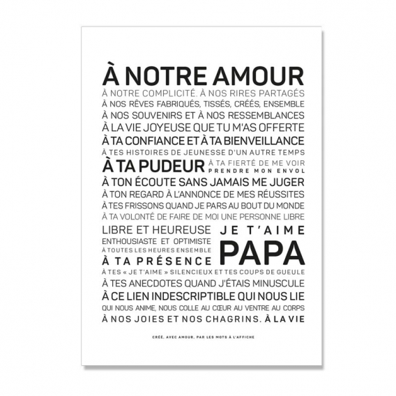 Carte Je t'aime papa @bonjourbibiche