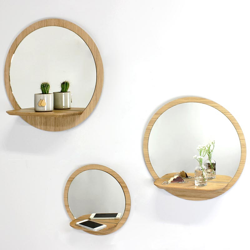 miroir rond avec tablette reine m re design. Black Bedroom Furniture Sets. Home Design Ideas