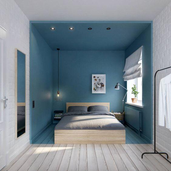 Chambre en bleu et blanc