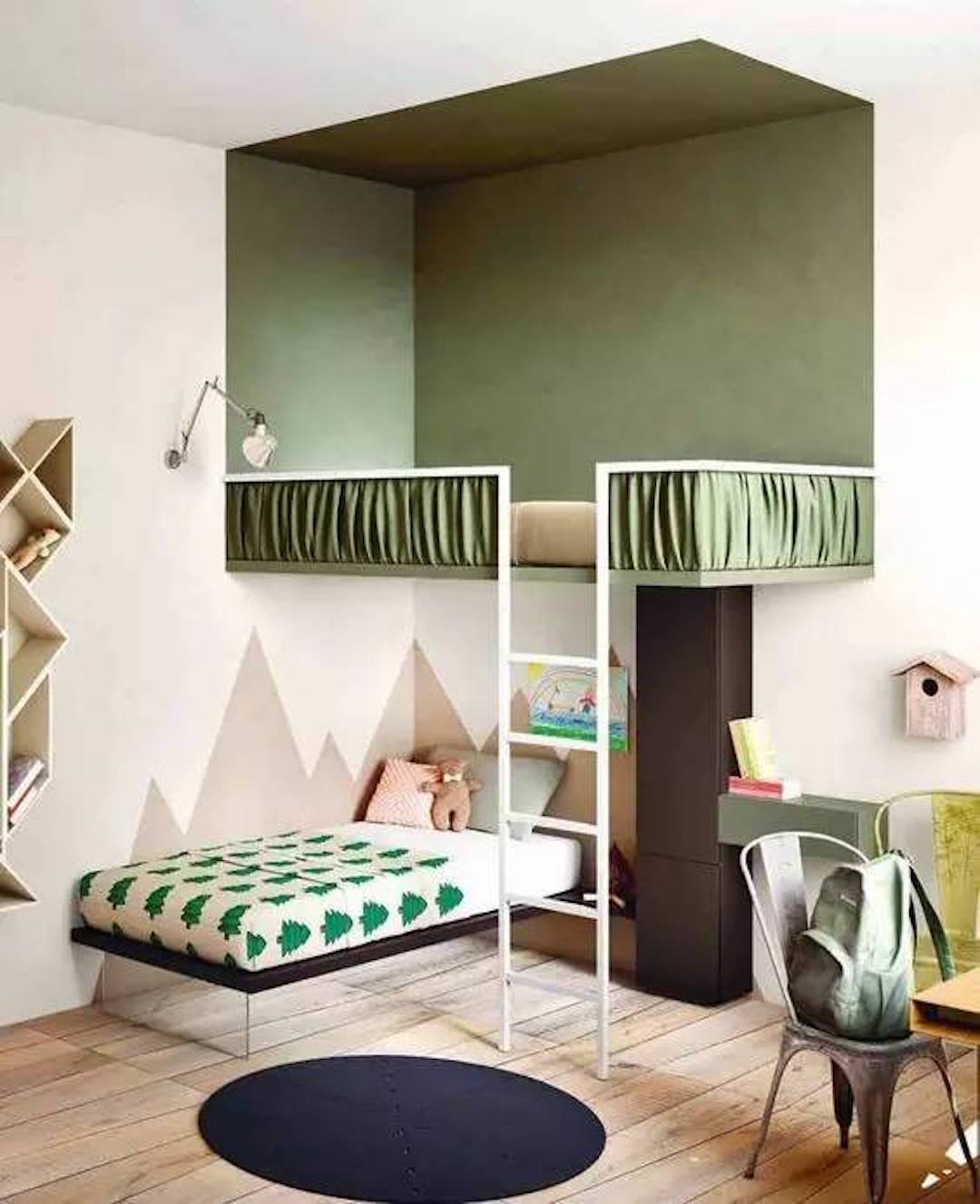 Chambre mur vert