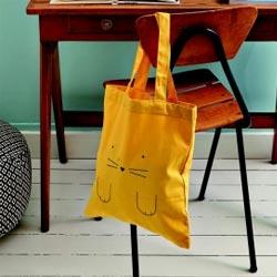 tote-bag chat jaune
