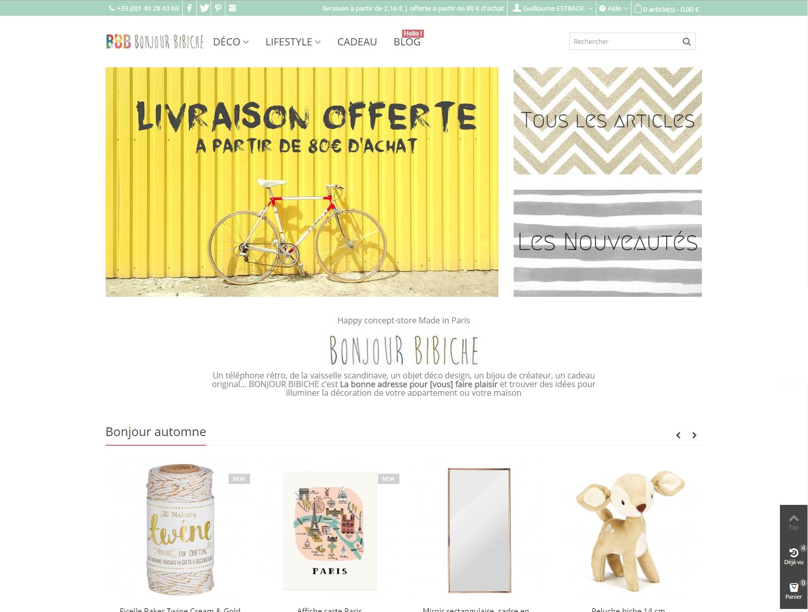 home page bonjour bibiche
