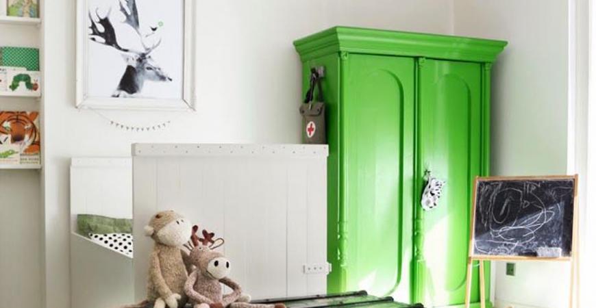 Déco : du vert pour la chambre des enfants